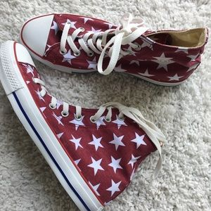 Converse Chuck Red Star High Top Canvas Sneakers